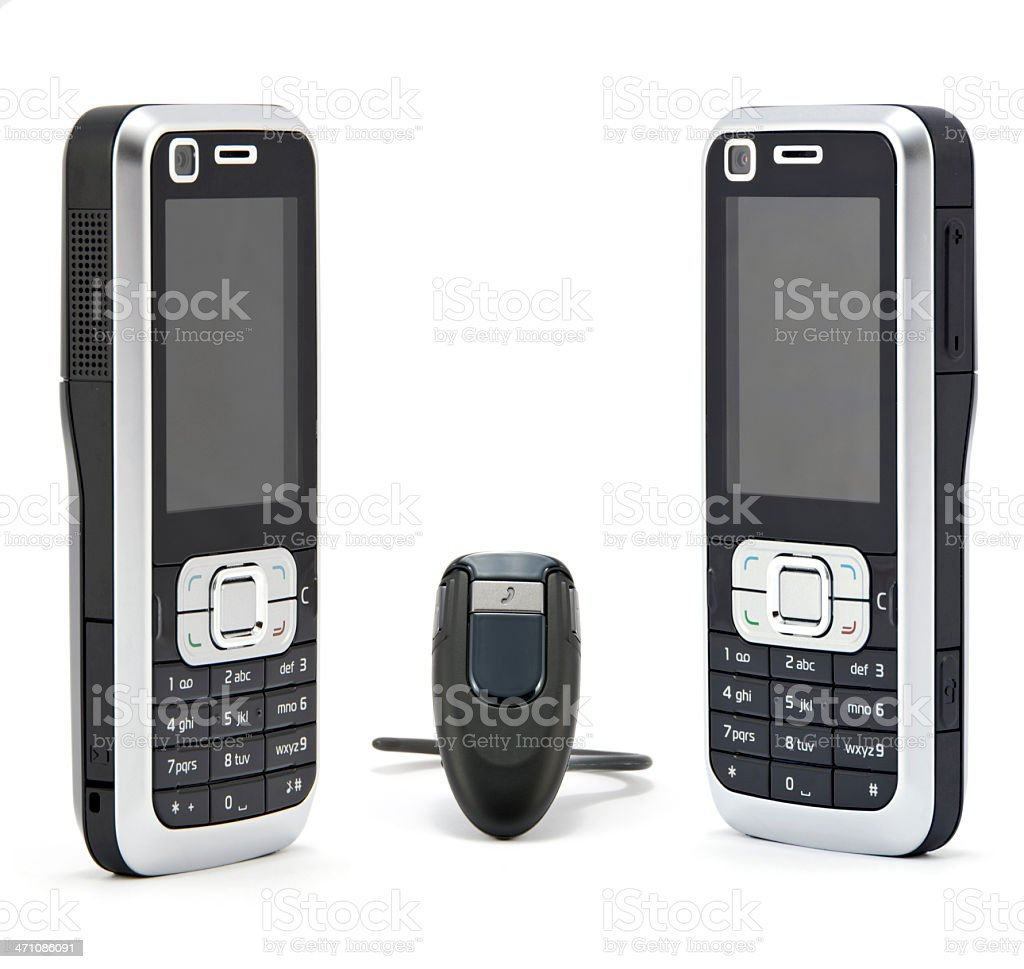 mobile phones and bluetooth stock photo