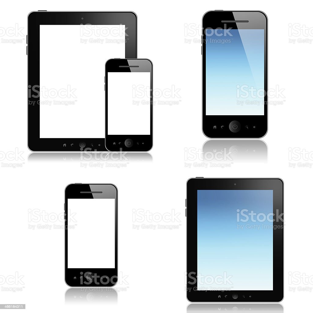 Mobile phones and tablet screens with different backgrounds royalty-free stock photo