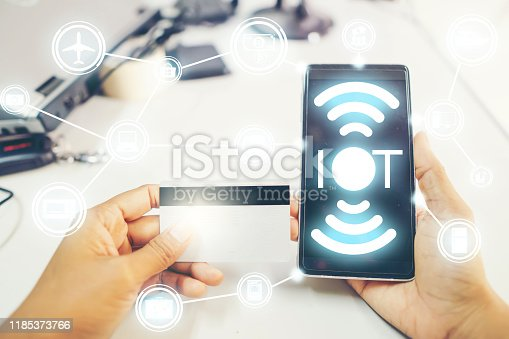 istock Mobile phones can connect to everything in the world of the future., Concept to the Internet of things(IOT) 1185373766