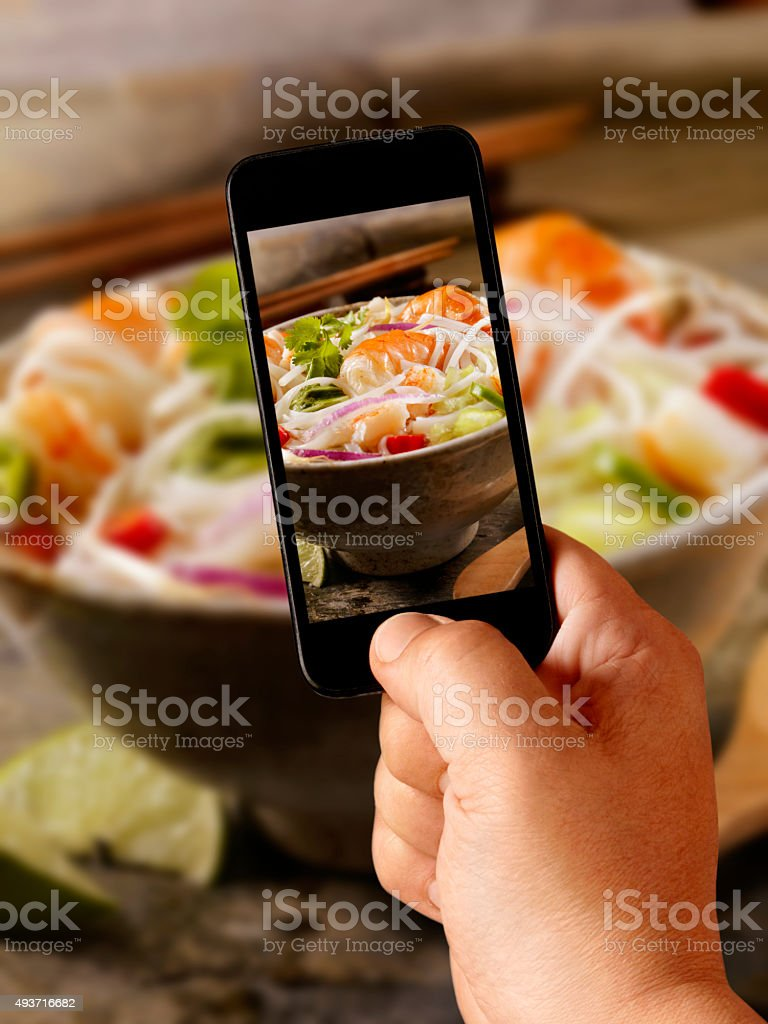 Mobile Photography Of Seafood Pho Stock Photo - Download Image Now