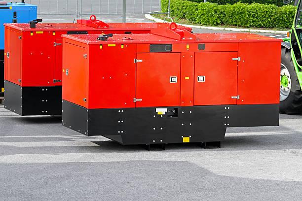 Mobile power generators stock photo