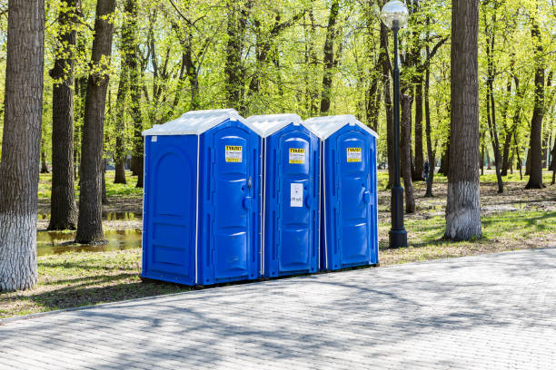 Mobile public toilets at the city park in summer sunny day Samara, Russia - May 7, 2017: Mobile public toilets at the city park in summer sunny day portable toilet stock pictures, royalty-free photos & images