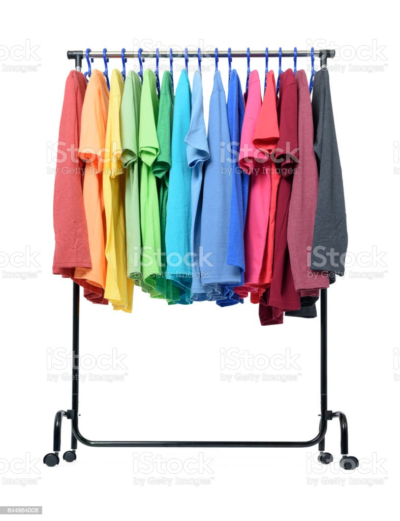 Mobile rack with color clothes on white background stock photo