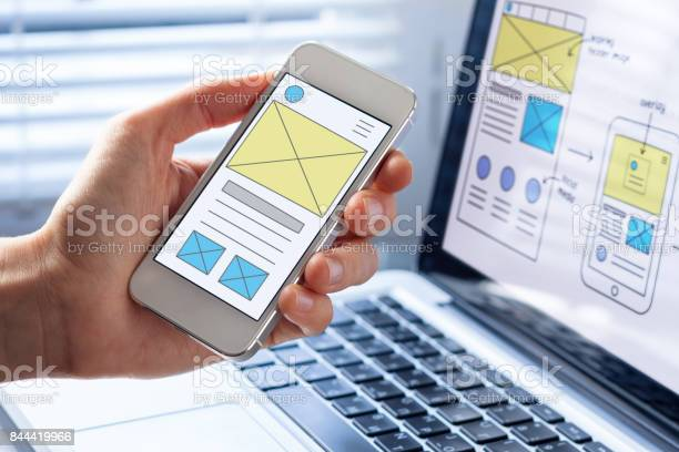 Mobile responsive website development wireframe design preview on picture id844419966?b=1&k=6&m=844419966&s=612x612&h=5863qkaw6su1h1uzwt lsjd6glmbbkxfgvmeqcsmjte=