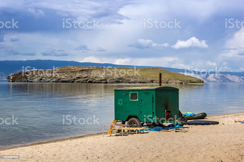 Mobile sauna stock photo