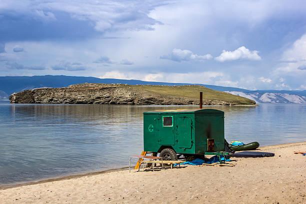 Mobile sauna stock photo