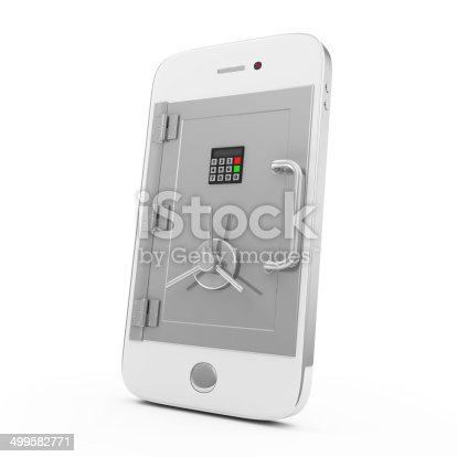istock Mobile Security and Protection Concept. Smartphone with Safe Door 499582771