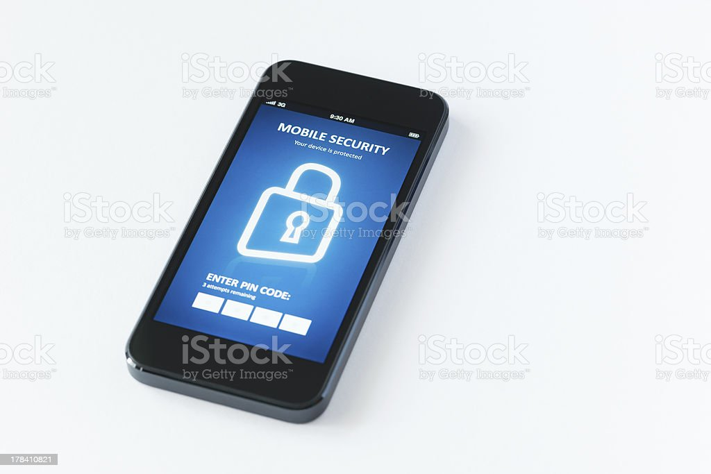 Mobile security application stock photo