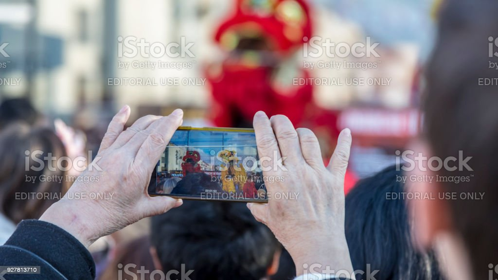 Mobile Shooting - Chinese New Year Parade, France 2018 stock photo