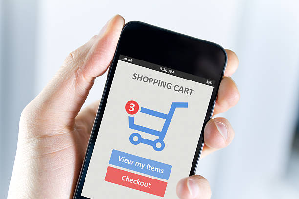 Mobile shopping stock photo
