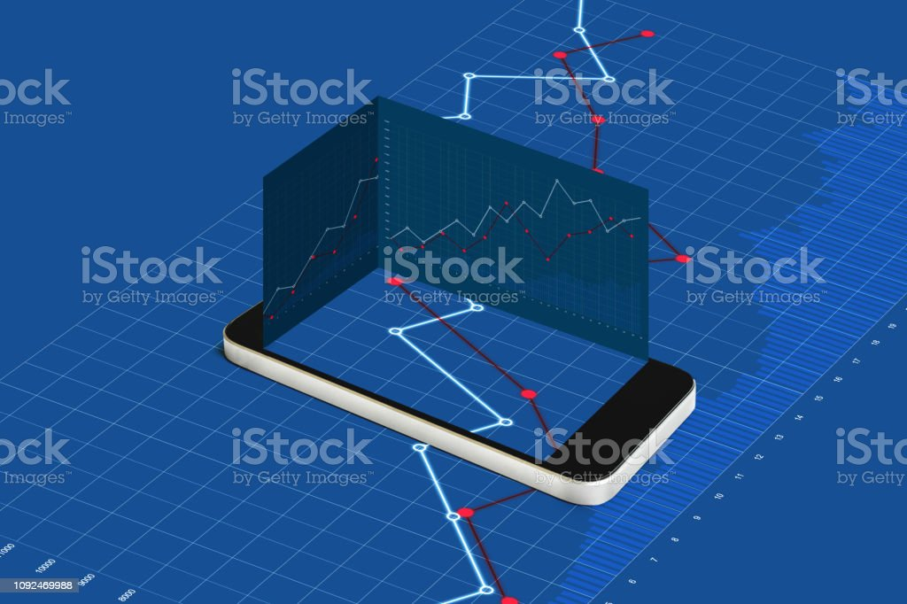 Mobile smart phone and blue raising graph background stock photo