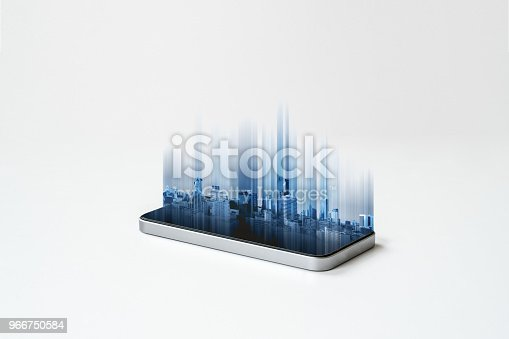 istock Mobile smart phone and buildings hologram technology, on white background. Mobile phone and communication technology 966750584