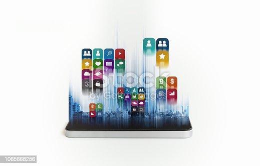 istock Mobile smart phone application technology 1065668256