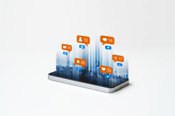 Mobile smart phone technology, with social media, social network notification icons. on white background stock photo