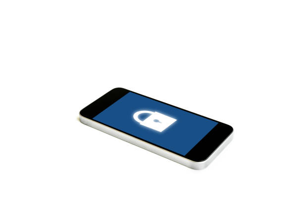 Mobile smart phone with lock icon on screen, isolated on white background. Internet safety and mobile security system technology stock photo
