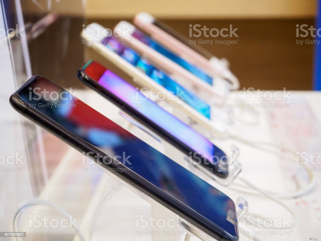 mobile smartphone in electronic store stock photo