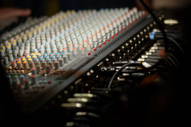 Mobile sound mixer during live concert stock photo