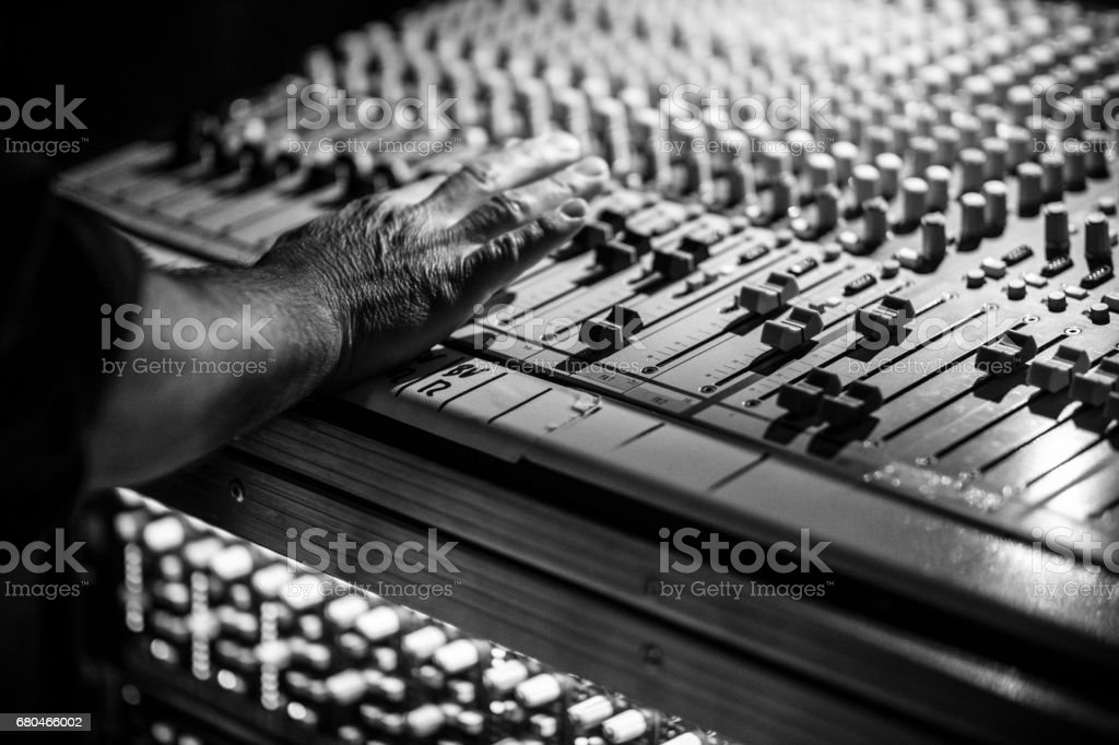 Mobile Sound Recording Studio Mixer Desk at Life Event stock photo