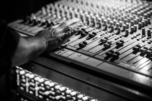 Mobile Sound Recording Studio Mixer Desk at Life Event stock photo