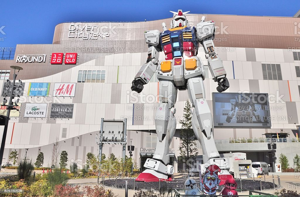 Mobile suit Gundam at DiverCity Tokyo Plaza. stock photo