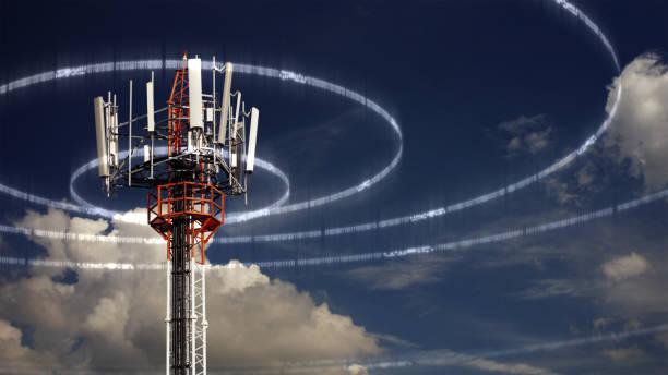 mobile telecommunication tower - ripetitore foto e immagini stock