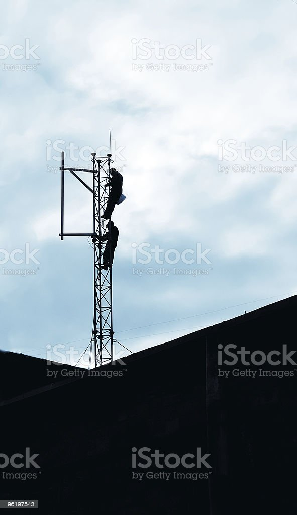 Mobile telephone cellphone mast maintenance royalty-free stock photo