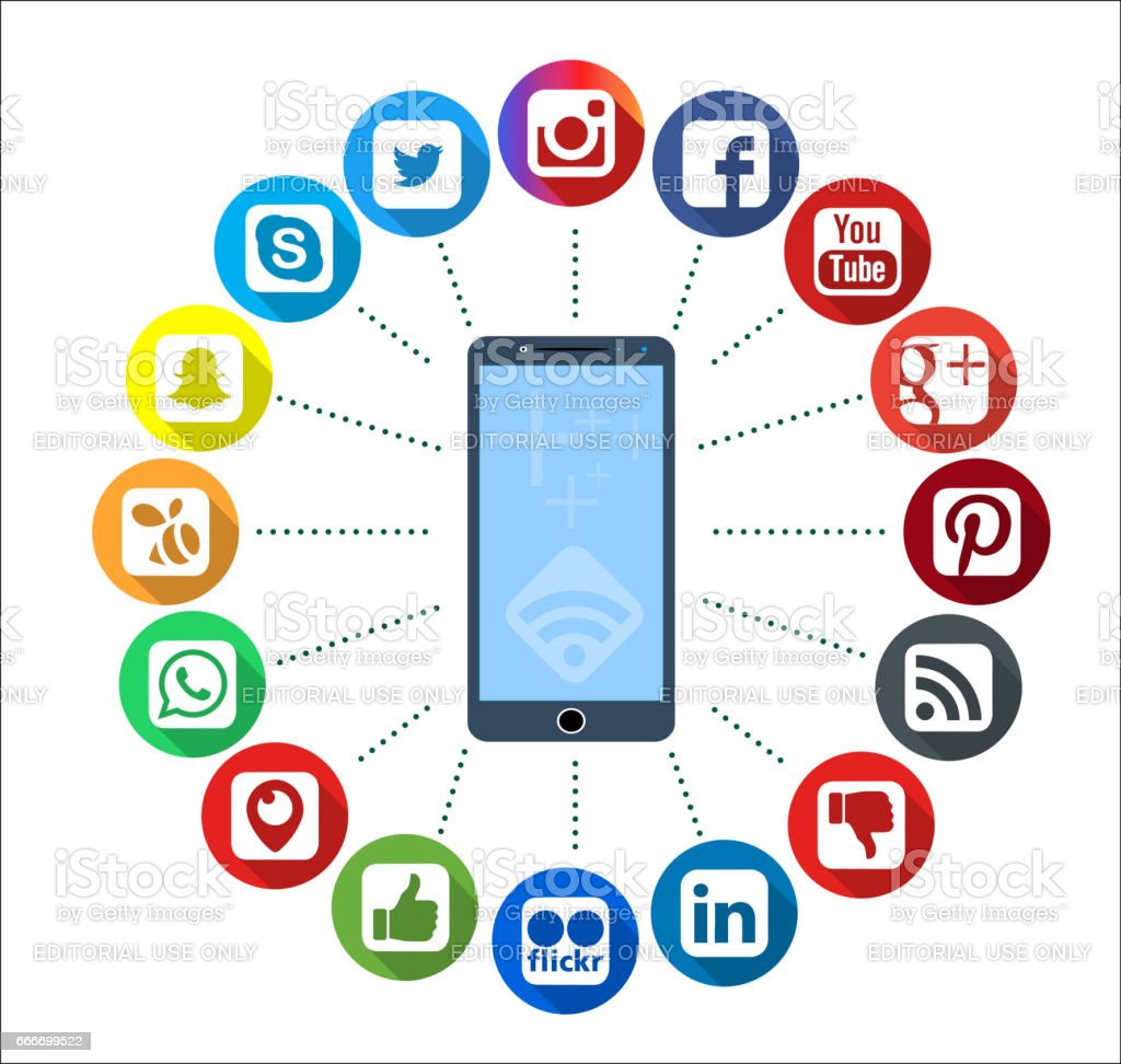 Mobile Telephone With Social Network Infographic Icons stock photo