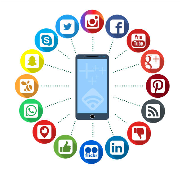 mobile telephone with social network infographic icons - logo stock photos and pictures