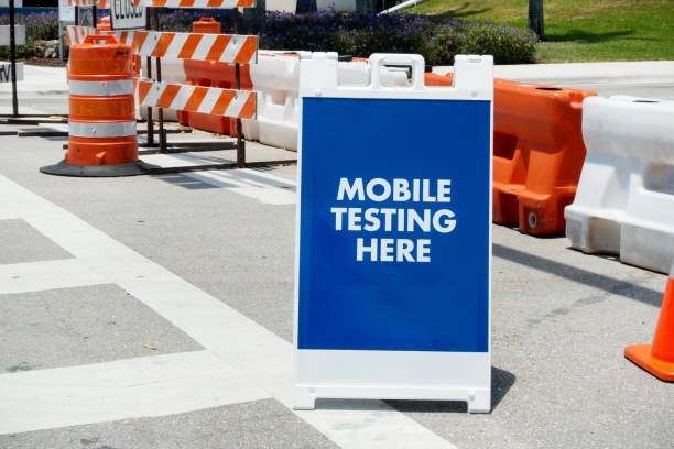 Mobile testing sign stock photo