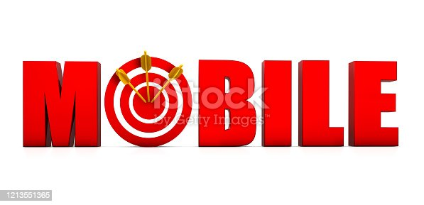 istock Mobile Text with Target and Arrow 1213551365