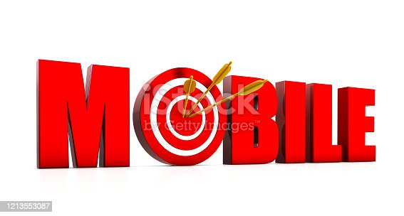 istock Mobile Text with Target and Arrow 1213553087
