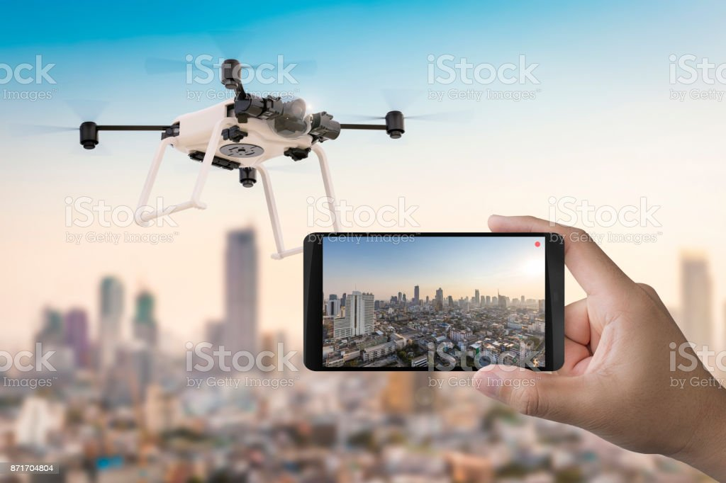 mobile with drone stock photo