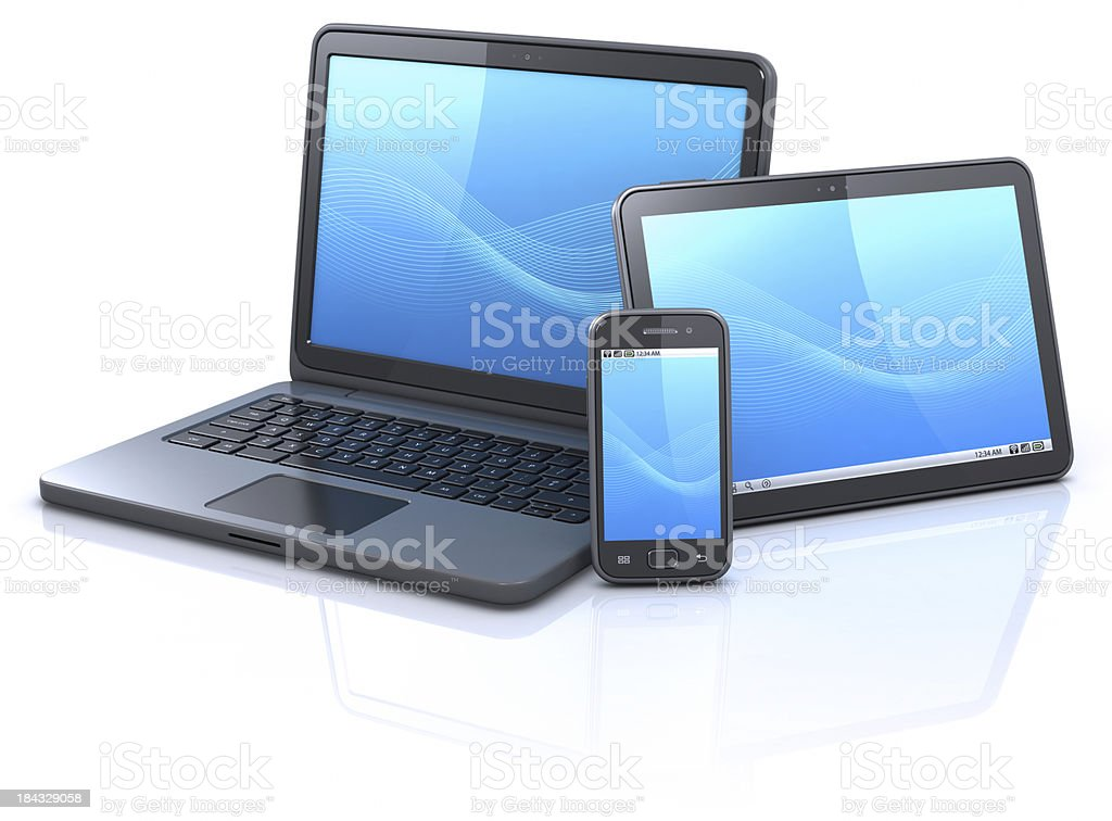 Mobilität-Geräte-blaue Welle Hintergrund – Foto