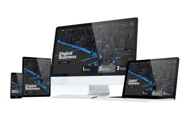 mobilität geräte digitalgeschäft moderne ansprechende design - webdesigner stock-fotos und bilder