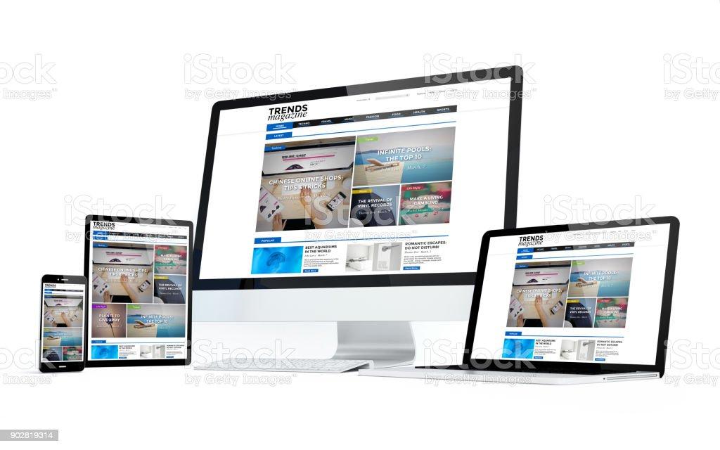 Mobilitätshilfen weißer Bildschirm reagiert Magazingestaltung – Foto