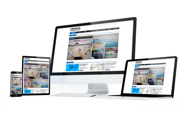 移動機器白画面雑誌レスポンシブ デザイン ストックフォト