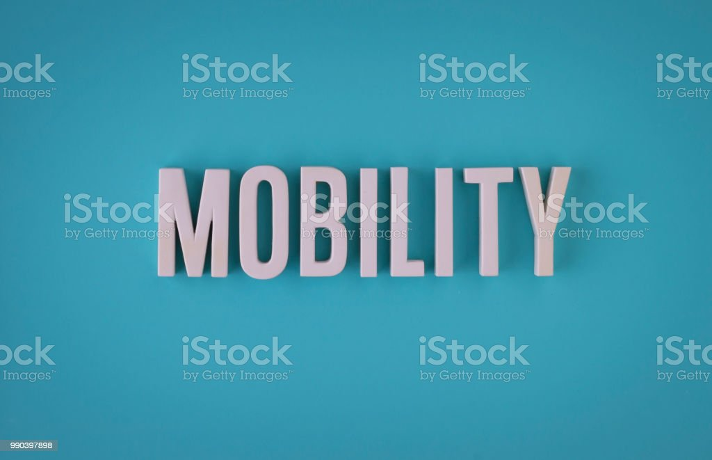 Mobility lettering sign stock photo
