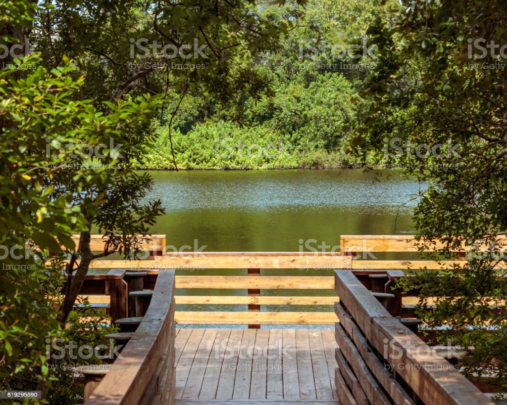Moccasin lake wooden pier lake view stock photo