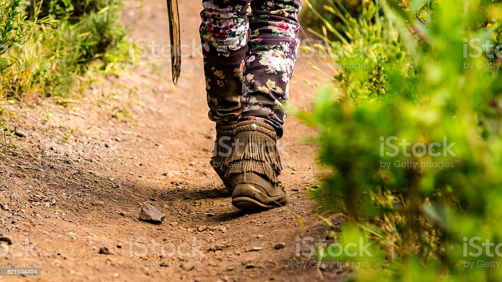 Moccasins on the trail stock photo