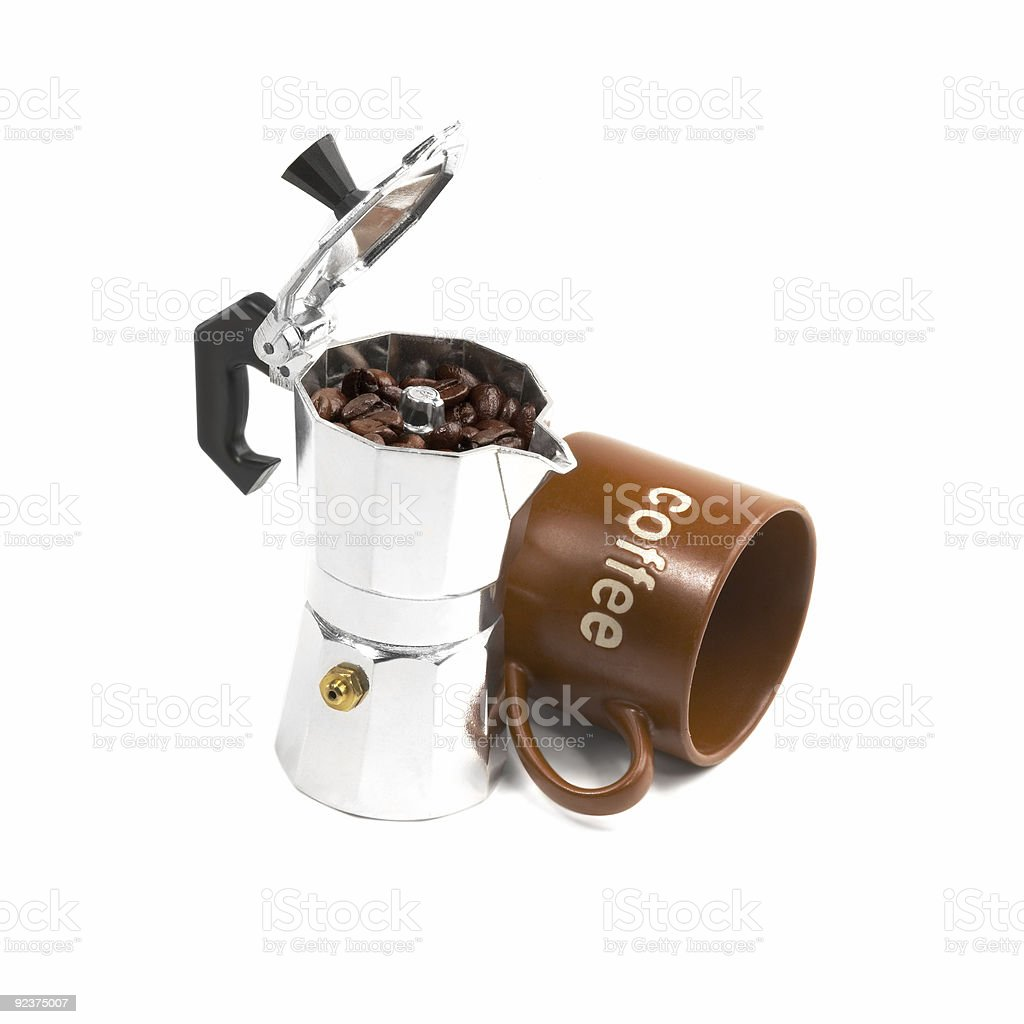 mocha coffee machine and cup royalty-free stock photo