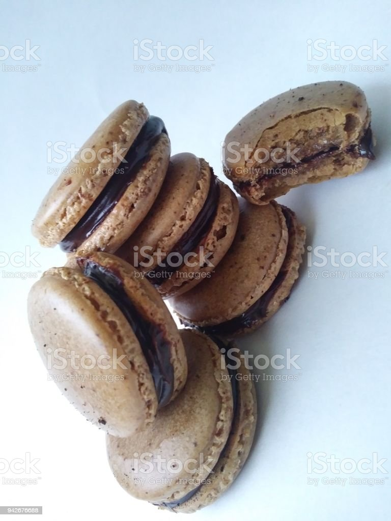 Mocha Macarons stock photo