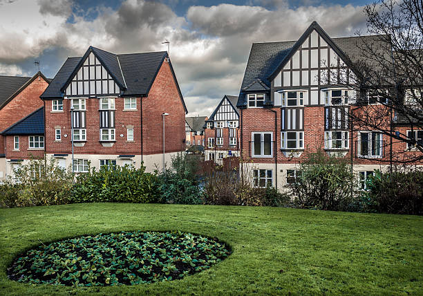 Mock Tudor Houses Brand new mock tudor town houses in Northwich, Cheshire England. northwest england stock pictures, royalty-free photos & images