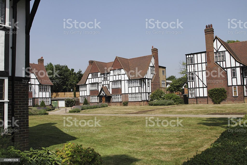 Mock tudor housing estate design 1930 royalty-free stock photo