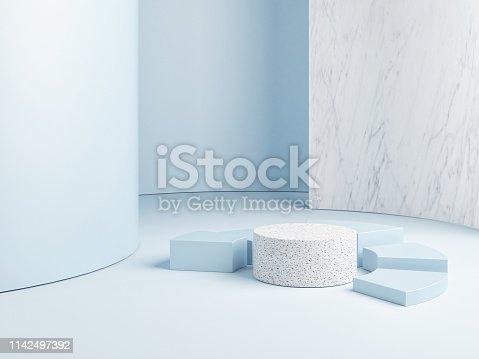 istock mock up abstract podium, blue background 1142497392