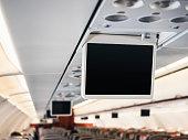 Airplane TV Screen Flight information media equipment aboard Blank template mock up