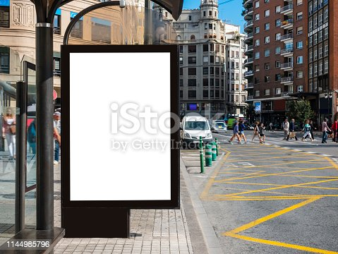 istock Mock up Banner at Bus station Media outdoor city street 1144985796