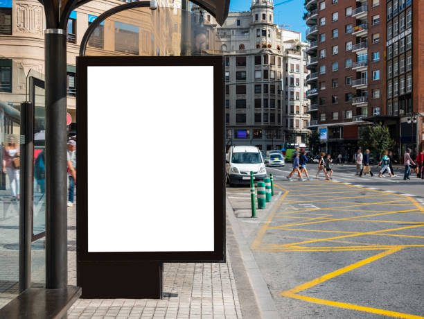 Mock up Banner at Bus station Media outdoor city street Mock up Banner at Bus station Advertising SignMedia outdoor city street sheltering stock pictures, royalty-free photos & images