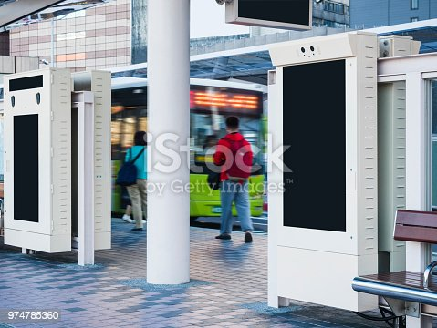 841502736 istock photo Mock up Banner at Bus stop Media outdoor display city Bus Terminal 974785360