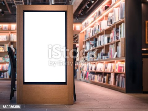 istock Mock up Banner Blank media Lightbox Bookstore interior Background 862286358