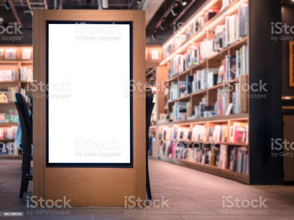 Mock-up Banner Rohlinge Lightbox Buchhandlung innen Hintergrund – Foto